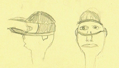 Profile and frontal sketch view of aniridia visor on a persons head