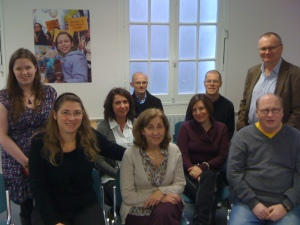 A photo of the European aniridia representatives sitting together in a group.