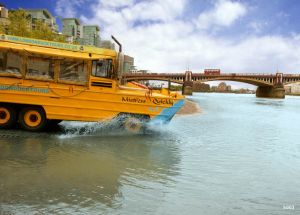 The amphibious vehicle used by London Duck Tours on the roads and river