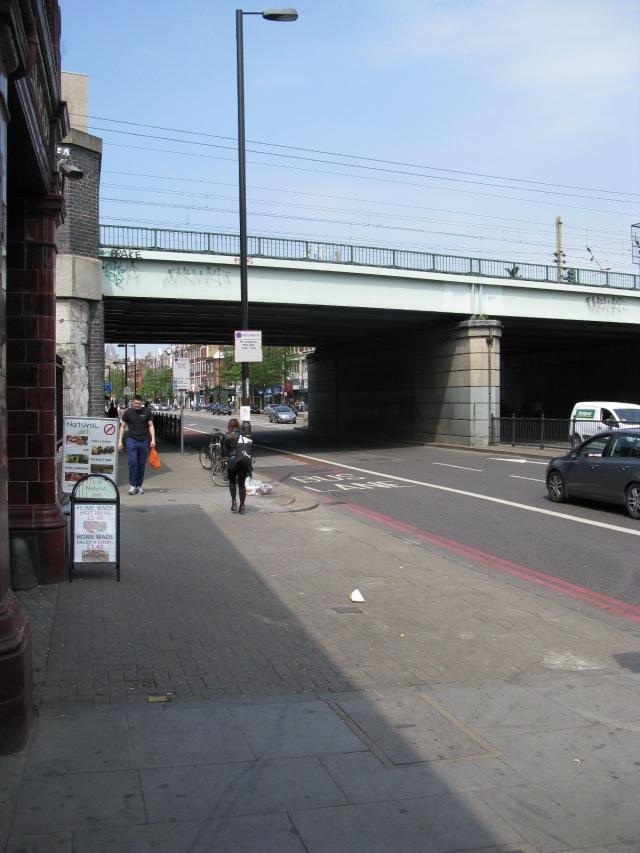 A railway bridge over a dual carriage way