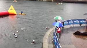 Kirsty and others swiming in the dock