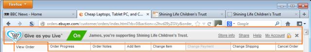 Give As You Live toolbar screenshot