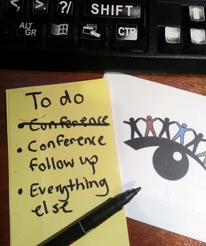 To list list: 1. Conference (crossed out) 2. Conference follow up 3. Everything else