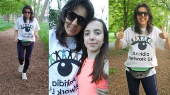 Collage of 3 photos of Katja - one with her running, one posing with her daughter Tina, and one with her smiling and giving 2 thumbs up. In all the photos she's wearing the Aniridia Network UK t-shirt.