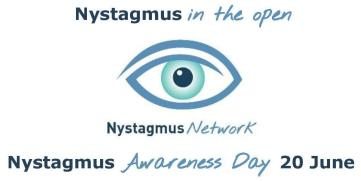 Text saying Nystagmus in the open, then the Nystagmus Network logo in the shape of an eye, then text saying Nystagmus Awareness Day 20 June