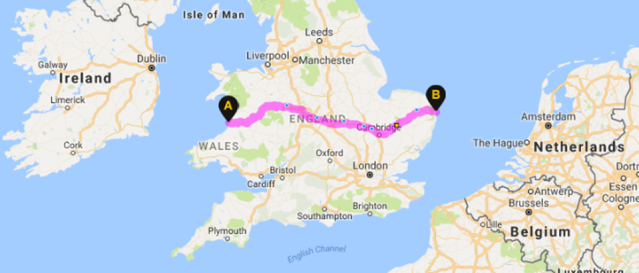 Map showing Matt's route across the country from Aberystwyth to Great Yarmouth.
