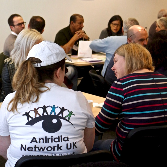 Two woman sitting with backs to the camera. One is wearing a Aniridia Network t-shirt. Other conference delegates are in the background.