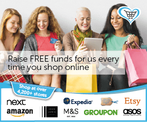 Raise FREE funds for us every time you shop online at: Next, Amazon, Epedia, M&S, Groupon, Asos, Etsy
