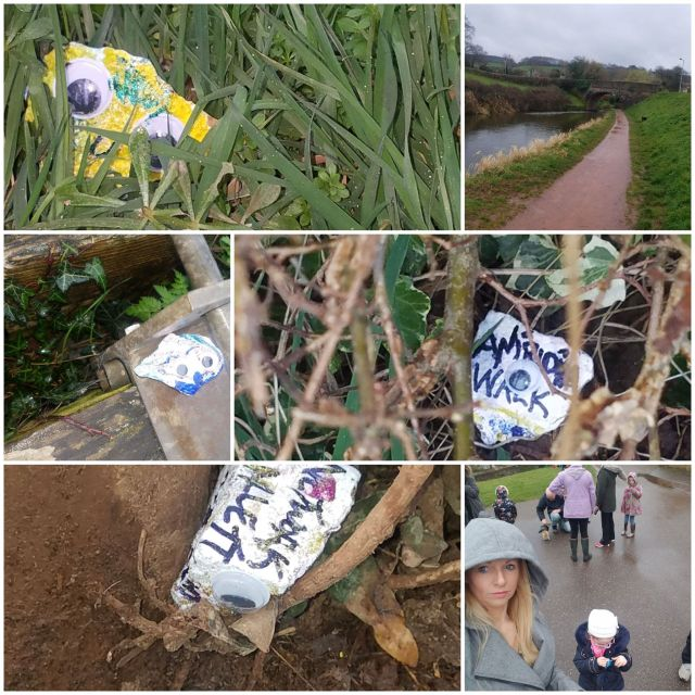Collage of photos showing rocks decorated in different colours by Scarlett, one saying Aniridia Walk. One photo shows the view along a grass-lined path by the river, and another shows Rachel and Scarlett together.