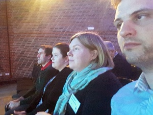 Martin, Katie, Emily and James sitting in a row