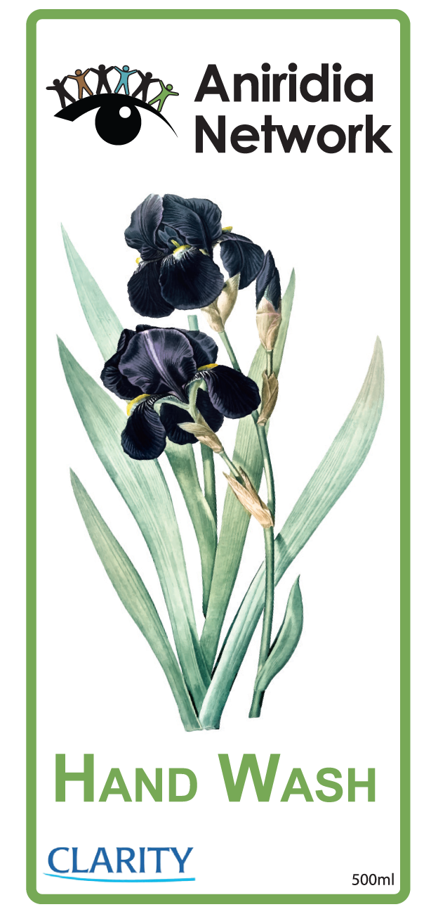 Aniridia Network logo, black iris flower, Hand wash, Clarity logo