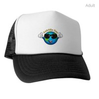 Baseball cap with Aniridia Day logo on white with black peak and sides