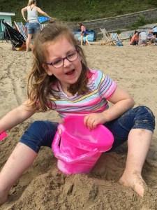 Mari on a sandy beach