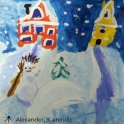 Snowy houses Christnas card