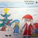 Tree, snowman, elf and Santa Christnas card
