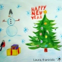 Snowman, presents and tree Happy New Year card