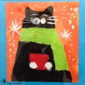 Black cat wearing scarf Christnas card
