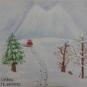 Snowy hillside with empty sleigh Christnas card
