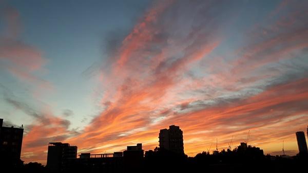 city skyline and sunset