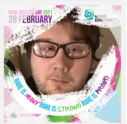 "Aaron pictured with a white frame. Rare Disease Day 2021, 28 February"" and ""Rare is Many, Rare is Strong, Rare is Proud"