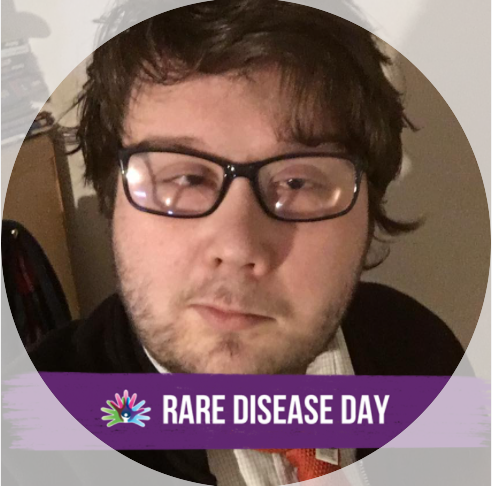 Aaron pictured with a frame of a purple banner below his face. Rare Disease Day and logo